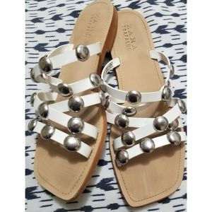 Zara slip-on studded strappy square toe casual